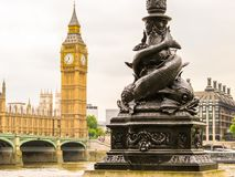 Houses of Parliament, Big Ben clocktower and Westminster Bridge. London royalty free stock photography