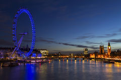 The Houses of Parliament Big Ben and The London Eye Royalty Free Stock Photos