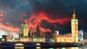 Houses of parliament - Big ben, London, UK, time lapse Royalty Free Stock Photography