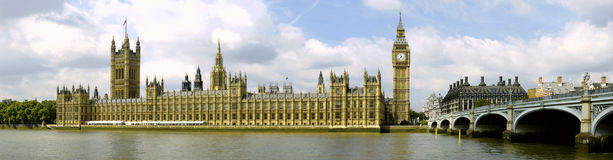 Houses of Parliament with Big Ben, panorama Royalty Free Stock Photography