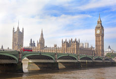 Houses of Parliament, Big Ben at sunset and Westminster Bridge, London Royalty Free Stock Photos