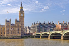 Houses of Parliament, Big Ben, and Thames River. Stock Image