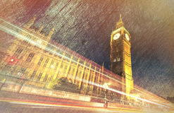 Houses of Parliament and Big ben, vintage view of London Royalty Free Stock Photography