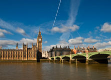 Houses of parliament, Big Ben and westminster. Big Ben and houses of parliament in downtown London Royalty Free Stock Photos
