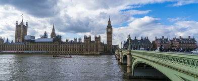Houses of Parliament Big Ben and Westminster Bridge Royalty Free Stock Image