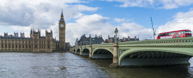 Houses of Parliament Big Ben and Westminster Bridge Royalty Free Stock Photos