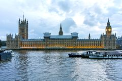 Houses of Parliament with Big Ben from Westminster bridge, London, England, Great Britain Royalty Free Stock Images