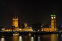 Houses of Parliament, Big Ben and Westminster Bridge, London. The Houses of Parliament, Big Ben and Westminster Bridge over the River Thames, London, England at Stock Images