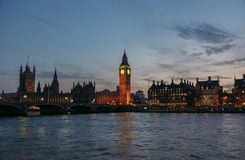 Houses of Parliament and Big Ben in Westminster, London, United Kingdom. Houses of Parliament and Big Ben in Westminster at night, London, United Kingdom Royalty Free Stock Photos