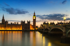 Houses of Parliament during the blue hour. London, England Stock Image