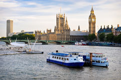 Houses Of Parliament, with boats in foreground. London, UK Stock Images