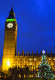 Houses of Parliament and Christmas Tree Royalty Free Stock Images