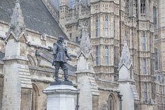 Houses of Parliament with Cromwell Statue and Monument, Westmins Stock Image
