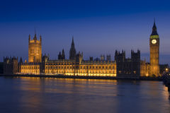 Houses Of Parliament at dusk. Long-exposure night shot of the Palace of Westminster more popularly known as the Houses of Parliament Royalty Free Stock Photos