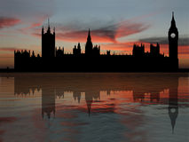 Houses Of Parliament At Dusk. Houses of parliament London reflected at dusk illustration Royalty Free Stock Image