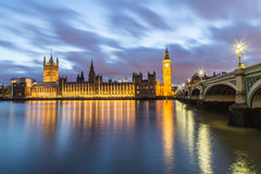 Houses of Parliament at Dusk Stock Photo