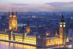 The Houses of Parliament at dusk. Elevated view of the Houses of Parliament at dusk, London, England Royalty Free Stock Images