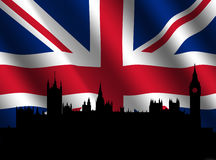 Houses of Parliament with flag Royalty Free Stock Photo