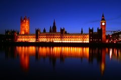 Houses of Parliament by floodlight Royalty Free Stock Images