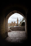 Houses of Parliament framed by an archway Royalty Free Stock Images