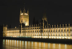 The Houses of Parliament illuminated at night Stock Photography