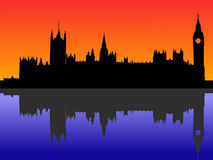 Houses of parliament London. Reflected at dusk Stock Images