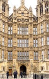 Houses of Parliament, London. The main entrance to the palace of Westminster (Houses of parliament), London, is St Stephen's entrance, which is guarded by Royalty Free Stock Photo