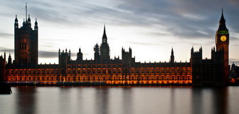 The Houses Of Parliament in London. Long exposure of The Houses Of Parliament in Westminster with beautiful reflections in the river Thames Royalty Free Stock Photography