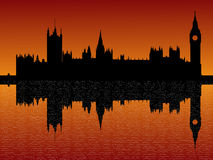 Houses of parliament London. Reflected at dusk illustration Royalty Free Stock Photos