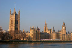 Houses of Parliament, London. Houses of Parliament from across River Thames Royalty Free Stock Photos