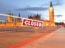Houses of Parliament in London. Houses of Parliament aka Westminster Palace in London, UK closed for Brexit Stock Image