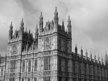 Houses of Parliament in London black and white. LONDON, UK - CIRCA JUNE 2017: Houses of Parliament aka Westminster Palace in black and white Stock Photo