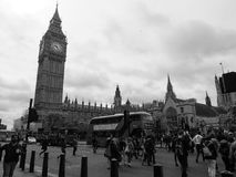 Houses of Parliament in London black and white Stock Photo