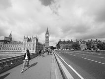 Houses of Parliament in London black and white Royalty Free Stock Photography