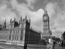 Houses of Parliament in London black and white Stock Images