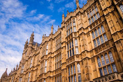 Houses of Parliament, London. Close, detail of the walls of the UK seat of government, The Houses of Parliament, a classic example of gothic architecture stock photo