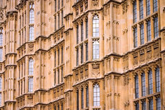 Houses of Parliament, London. Close, full-frame detail of the walls of the UK seat of government, The Houses of Parliament, a classic example of gothic Royalty Free Stock Photography