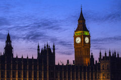 Houses of Parliament in London at Dusk Stock Images