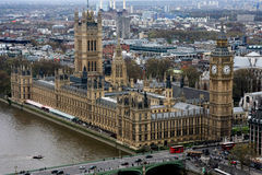 Houses of Parliament in London, England. Aerial view of Houses of Parliament in Westminster, London, England Stock Photography