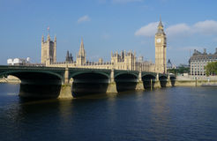 Houses of parliament in london, england, over the thames Stock Photography