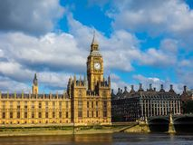 Houses of Parliament in London, hdr. LONDON, UK - CIRCA JUNE 2017: Houses of Parliament aka Westminster Palace, high dynamic range Royalty Free Stock Photos