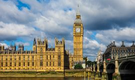 Houses of Parliament in London (hdr). LONDON, UK - CIRCA JUNE 2017: Houses of Parliament aka Westminster Palace (high dynamic range Royalty Free Stock Photography