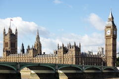 Houses of Parliament, London, UK, Big Ben clock tower, Westminster Bridge, copy space Stock Images