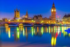 The Houses of Parliament, London, UK. The Big Ben, the Houses of Parliament and the Westminster Bridge, London, UK Royalty Free Stock Image