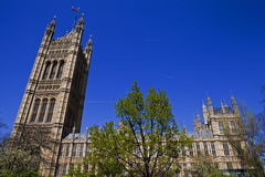 Houses of Parliament in London. A view of the West side of the Houses of Parliament in London Royalty Free Stock Photography