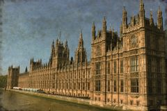 Houses of Parliament in London - Vintage stock photo