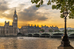 The Houses of Parliament London. Westminster Houses of Parliament on the River Thames in London Stock Photo
