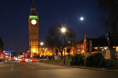 Houses of parliament at night. Hoses of parliament at night with moon royalty free stock images