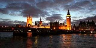 Houses of Parliament by night Stock Photo