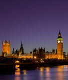 Houses of Parliament at night London. Purple night shot of houses of parliament royalty free stock image